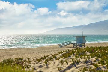 Lifeguard hut on the Malibu beach.