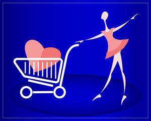 Girl with heart in the shopping cart. Blue background.