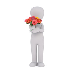 Cartoon Figure Holding Bouquet of Colorful Roses