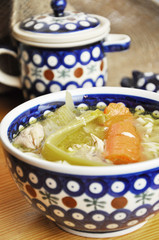 Stock soup in Polish Pottery bowl