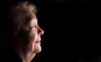Profile portrait of elderly old women, grandmother