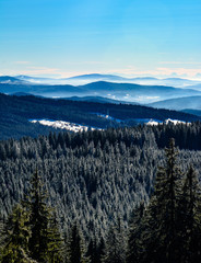 Winter fog in mountains