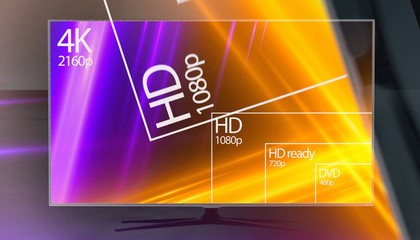 4K resolution display with comparison of resolutions. 3D render