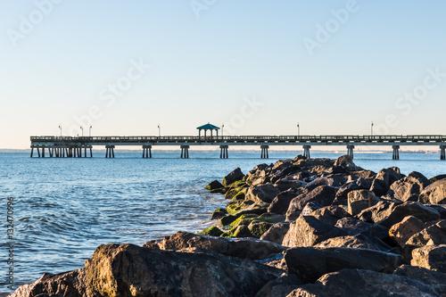 Buckroe beach with fishing pier and rock jetty in hampton for Buckroe beach fishing pier