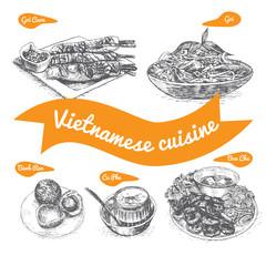Monochrome vector illustration of Vietnamese cuisine.