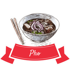 Pho colorful illustration.
