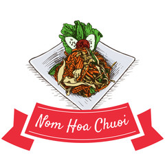 Nom Hoa Chuoi colorful illustration.