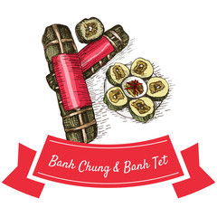 BanhChung and BanhTet colorful illustration.
