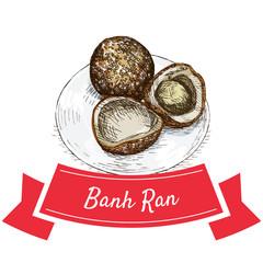 Banh Ran colorful illustration.
