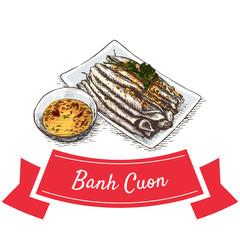 Banh Cuon colorful illustration.
