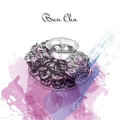 Bun Cha watercolor effect illustration.