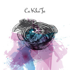 Ca Kho To watercolor effect illustration.
