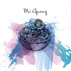 Mi Quang watercolor effect illustration.