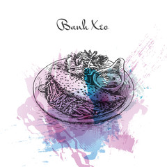 Banh Xeo watercolor effect illustration.