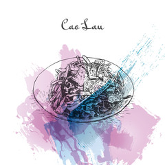 Cao Lau watercolor effect illustration.
