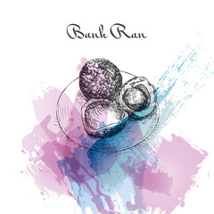 Banh Ran watercolor effect illustration.