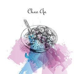 Chao Ga watercolor effect illustration.