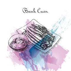Banh Cuon watercolor effect illustration.