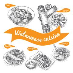 Monochrome vector illustration of Vietnamese cuisine