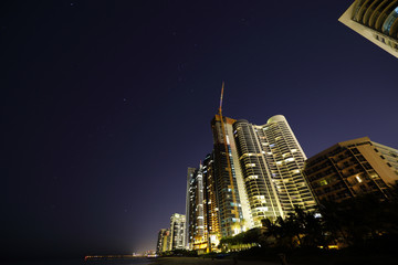 Stock photo buildings and stars at night