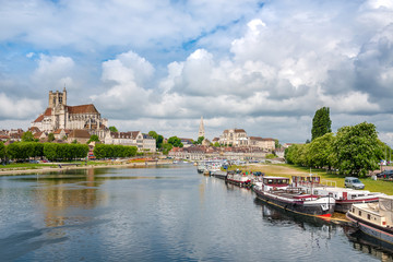 Beautiful view of the historic town of Auxerre with Yonne river,