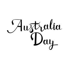 Australia day postcard. Ink illustration. Modern brush calligraphy. Isolated on white background