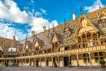 Courtyard of Hotel Dieu, Beaune, France