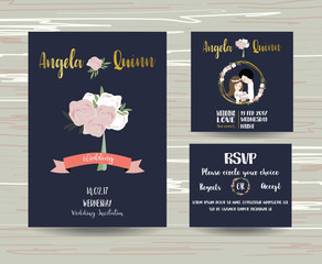 Valentine template collection for banners,Flyers,Placards with bride and groom