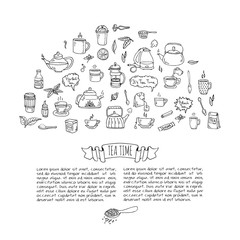 Hand drawn doodle Tea time icon set. Vector illustration. Isolated drink symbols collection. Cartoon various beverage element: mug, cup, teapot, leaf, bag, spice, plate, mint, herbal, sugar, lemon.
