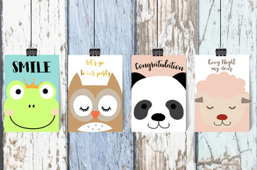 Colorful collection for banners,Flyers,Placards with frog,owl,panda and sheep on wallpaper