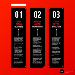 Modern corporate graphic design template with black elements on red background. Useful for advertising, marketing and web design.