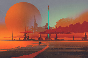Fotorolgordijn Baksteen sci-fi contruction in the desert,illustration digital painting