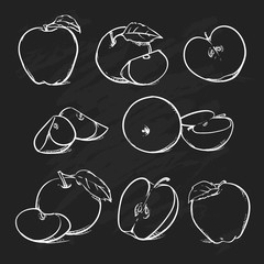 Apple with leaf and slice on a black background, Vector clip art