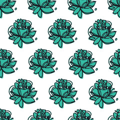 Floral vector ornament. Seamless abstract classic pattern with flowers.