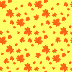 Seamless texture maple leaf on light orange background. Perfect for wallpapers, wrapping papers, pattern fills, textile, autumn greeting cards, Thanksgiving Day cards.