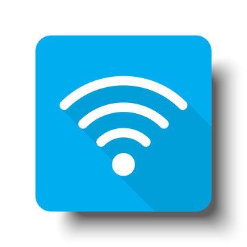 White Wireless icon on blue web button