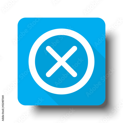 """White Cancel icon on blue web button"" Stock image and ..."