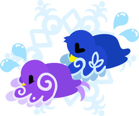 The cute little birds of mysterious design apologizing for