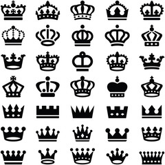 Crown icon collection - silhouette illustration