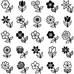 Flower icon collection - illustration