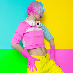 Minimal fashion Pop Art. Vanilla pastel colors. Girl DJ.