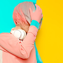 Lady DJ Creative pop art style. Minimal design fashion Sweet co