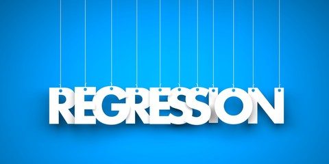 White word REGRESSION on blue background. 3d illustration