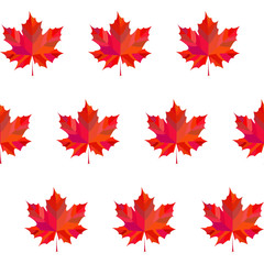 Seamless colorful background made of  maple leaves in flat desig