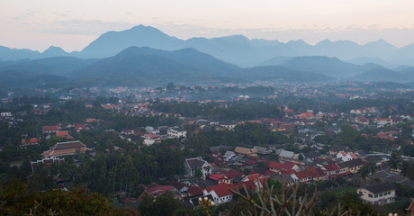 view on Luan Prabang city from town viewpoint,Laos