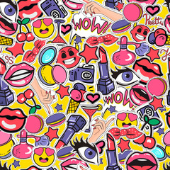 Seamless colorful background with fashion patch badges with lipstick, smileyl, eyes and other elements. Vector pattern with stickers, pins, patches in cartoon 80s-90s comic cartoon style.