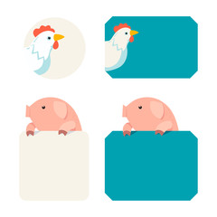 Pig and chicken tags  vector illustration cartoon style