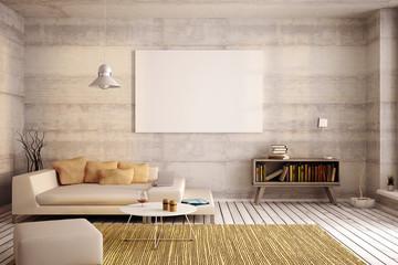 Interior design with wooden floor, 3d illustration