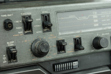 old retro stereo receiver system mode control panel button switch knob
