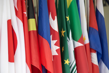 group of Asia and Southeast Asia international flags
